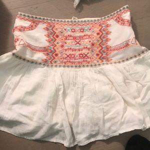 zara white embroidered mini skirt small